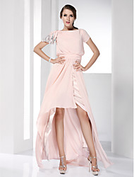 TS Couture Prom Formal Evening Dress - High Low Celebrity Style Sheath / Column Bateau Floor-length Asymmetrical Chiffon withSide Draping