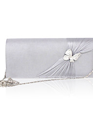 Women Silk Event/Party Evening Bag Gray