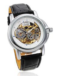 Voll Automatische Herren Uhr mit Hohlgravur und PU Leder Armband