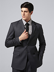 Custom Made Single Breasted Three-button Notch Lapel Side-vented Dark Blue Check Suit Jacket