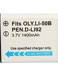 1400mAh batería de la cámara D-li92 (50b) para Olympus, Pentax Optio I-10 y más