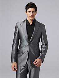 Single Breasted Two-button Peak Lapel Center-vented Steel Gray Suit Jacket