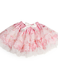 Flower Print Ribbon Tulle Tutu Girl Skirt With Lining