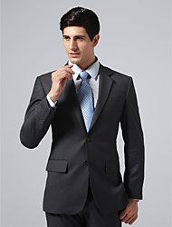 Custom Made Single Breasted Two-button Notch Lapel Center-vented Dark Gray Pinstripe Suit