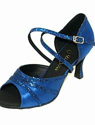 Non Customizable Women's Dance Shoes Latin/Ballroom Sparkling Glitter/Satin Stiletto Heel Gold/Blue