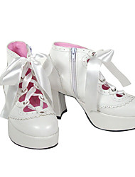 Lolita Shoes Punk Lolita Lolita High Heel Shoes Solid 7.5 CM White For Women PU Leather/Polyurethane Leather