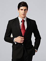Custom Made Single Breasted Two-button Notch Lapel Center-vented Black Pinstripe Suit