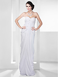 Formal Evening Military Ball Dress - Open Back Celebrity Style Sheath / Column Strapless Sweetheart Floor-length Chiffon withDraping Side