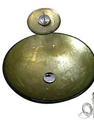 Раковина из закаленного стекла с краном водопад, в комплекте сток и монтажное кольцо