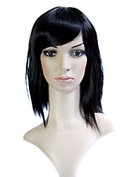 Capless Black 100% Japanese Kanekalon Fiber Straight Shoulder Hair Wig