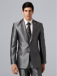 Single Breasted Two-button Notch Lapel Side-vented Gray Groom Tuxedo