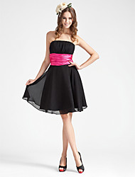 Knee-length Chiffon Bridesmaid Dress - Black Plus Sizes / Petite A-line / Princess Strapless