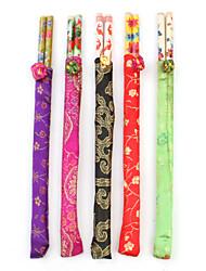 tradicionais pauzinhos de arte oriental de madeira com bolsas (5-pack)