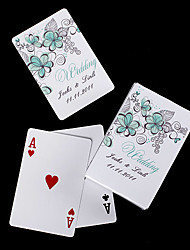 Personalized Playing Cards - Green Flowers
