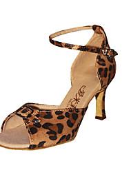 Ballroom Fashion Leopard Pattern Fabric Upper Dance Shoes Latin Shoes for Women
