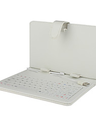 Enlighted White Leather Keyboard Case for 7 inch Tablet Computer (USB Port)