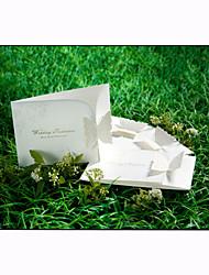 Elegant Tri-fold Wedding Invitation With Laser-cut Butterfly (Set of 50)