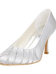 Women's Shoes Satin / Stretch Satin Spring / Summer / Fall / Winter Heels Wedding Stiletto Heel RhinestoneBlack / Pink / Red / Ivory /