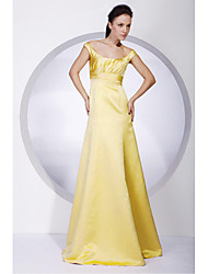Floor-length Satin Bridesmaid Dress A-line / Princess Off-the-shoulder Plus Size / Petite with Draping