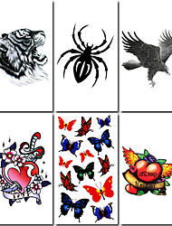 6 Pcs Tiger and Spider Mixed Temporary Tattoo