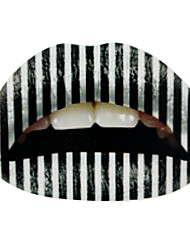 5 Pcs Black and White Temporaty Lip Tattoo Sticker
