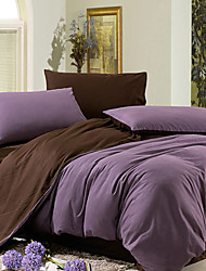 Egyptian Cotton Purple Yarn Dyed Full / Queen / King 4-piece Duvet Cover Set