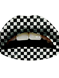 5 Pcs Black and White Checkered Temporaty Lip Tattoo Sticker
