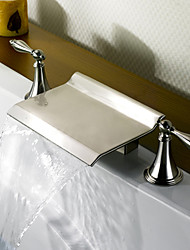 Bathtub Faucet - Contemporary - Waterfall - Brass (Nickel Brushed)