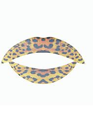 5 pcs temporaty leopardo etiqueta tatuagem lábio