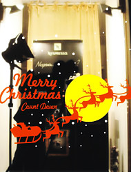 Christmas Decoration Wall Stickers Holiday Ornaments Flying Reindeer to Moon