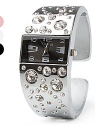 Femme Montre Tendance Montre Bracelet Bracelet de Montre Montre Diamant Simulation Quartz Imitation de diamant Bande Bracelet ArgentBlanc