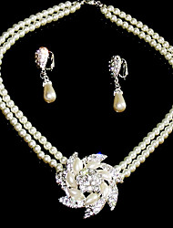 Beautiful Clear Crystals With Imitation Pearls Wedding Bridal Jewelry Set,Including Necklace And Earrings