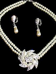 beaux cristaux clairs avec l'imitation de noces de perles bijoux de mariage mis, y compris le collier et boucles d'oreilles
