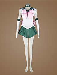 Inspired by Sailor Moon Sailor Jupiter Anime Cosplay Costumes Cosplay Suits Patchwork Green Sleeveless Dress / Cravat / Gloves / Ribbon
