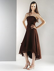Tea-length / Asymmetrical Chiffon Bridesmaid Dress A-line / Princess Strapless Plus Size / Petite with Draping / Ruching