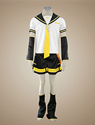 Inspired by Vocaloid Kagamine Len Video Game Cosplay Costumes Cosplay Suits Patchwork Short SleeveTop / Shorts / Tie / Sleeves / Belt /