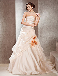 Lanting A-line Strapless Cathedral Train Satin Wedding Dress