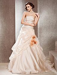 lanting novia una línea / princesa pequeña / más el tamaño del tren del vestido de boda-catedral