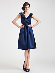 Lanting Knee-length Satin Bridesmaid Dress - Dark Navy Plus Sizes / Petite A-line / Princess V-neck