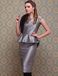 ts estilo vintage prata vestido justo peplum
