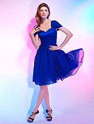 A-Line Princess Sweetheart Off-the-shoulder Knee Length Chiffon Cocktail Party Dress with Draping by TS Couture®