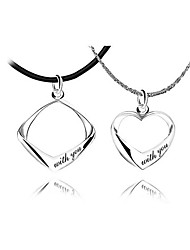 "Fashion His & Hers ""With You"" Pendants In Sterling Silver"