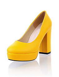 Leatherette Platform Chunky Heel Pumps (More Colors)