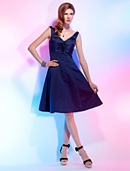 A-Line Princess V-neck Knee Length Satin Cocktail Party Homecoming Dress with Flower(s) Ruching by TS Couture®