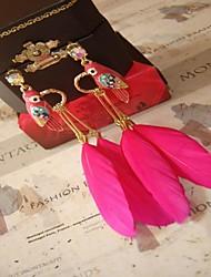 brincos de penas de papagaios pendurados