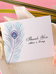 Thank You Card - Peacock Feather (Set of 50)