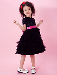 A-line/Princess Knee-length Flower Girl Dress - Satin/Tulle Short Sleeve
