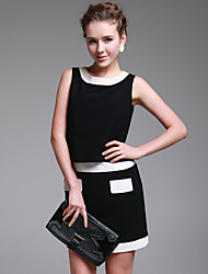 TS Contrast Color Two Pieces Like Dress