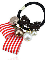 Stripped Ribbon Pearl Hair Tie