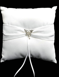 Ring Pillow In White Satin With Butterfly Rhinestones And Sash
